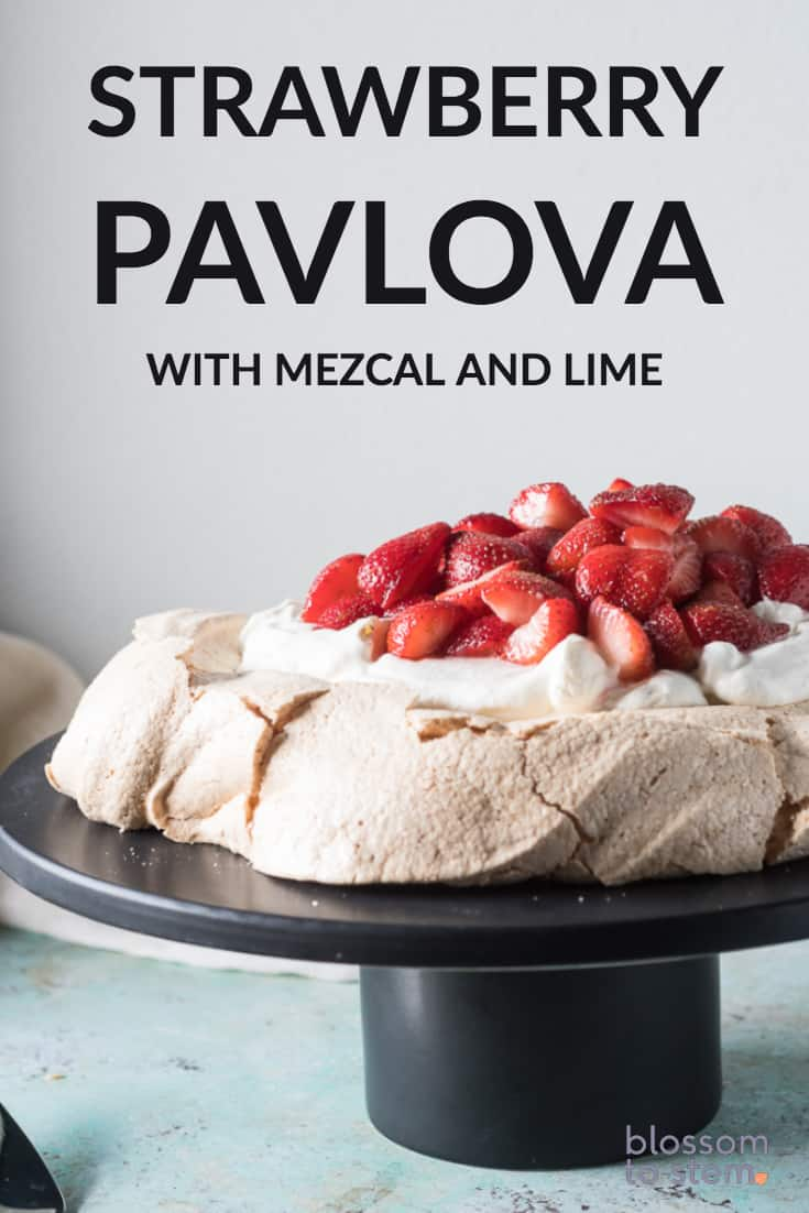 Strawberry Pavlova with Mezcal and Lime