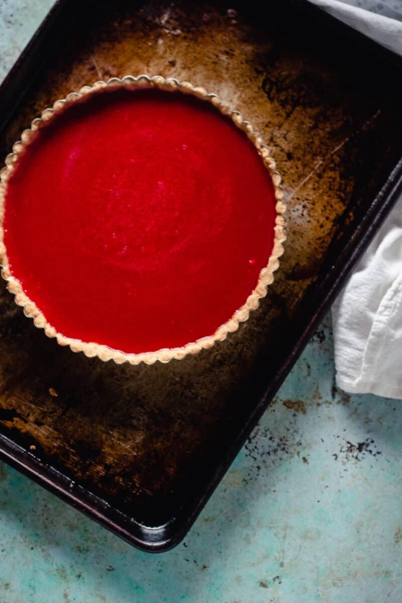 Cranberry Curd Tart on a sheet pan