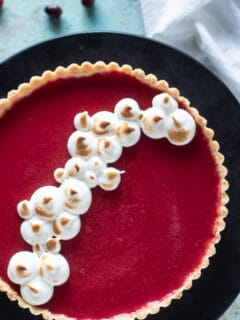 Cranberry Curd Tart with Toasted Meringe overhead shot