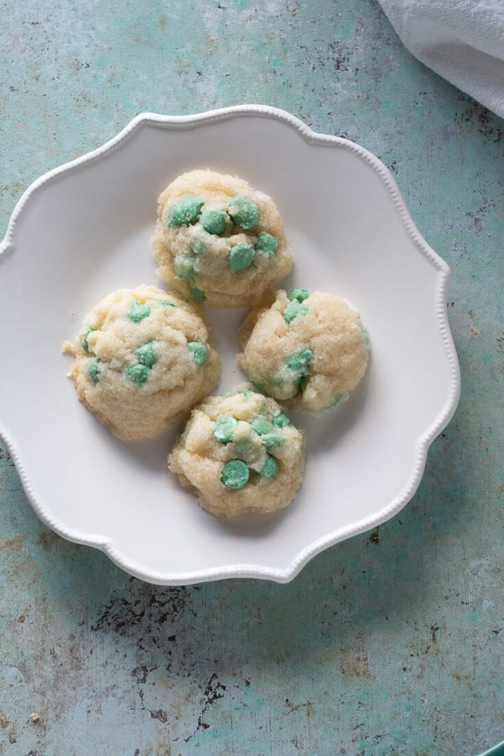 Mint Chip Cookies on a white plate
