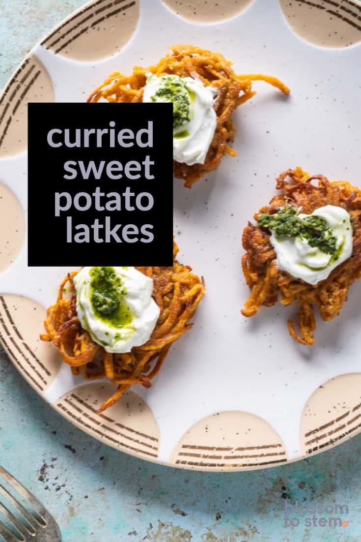 Curried Sweet Potato Latkes