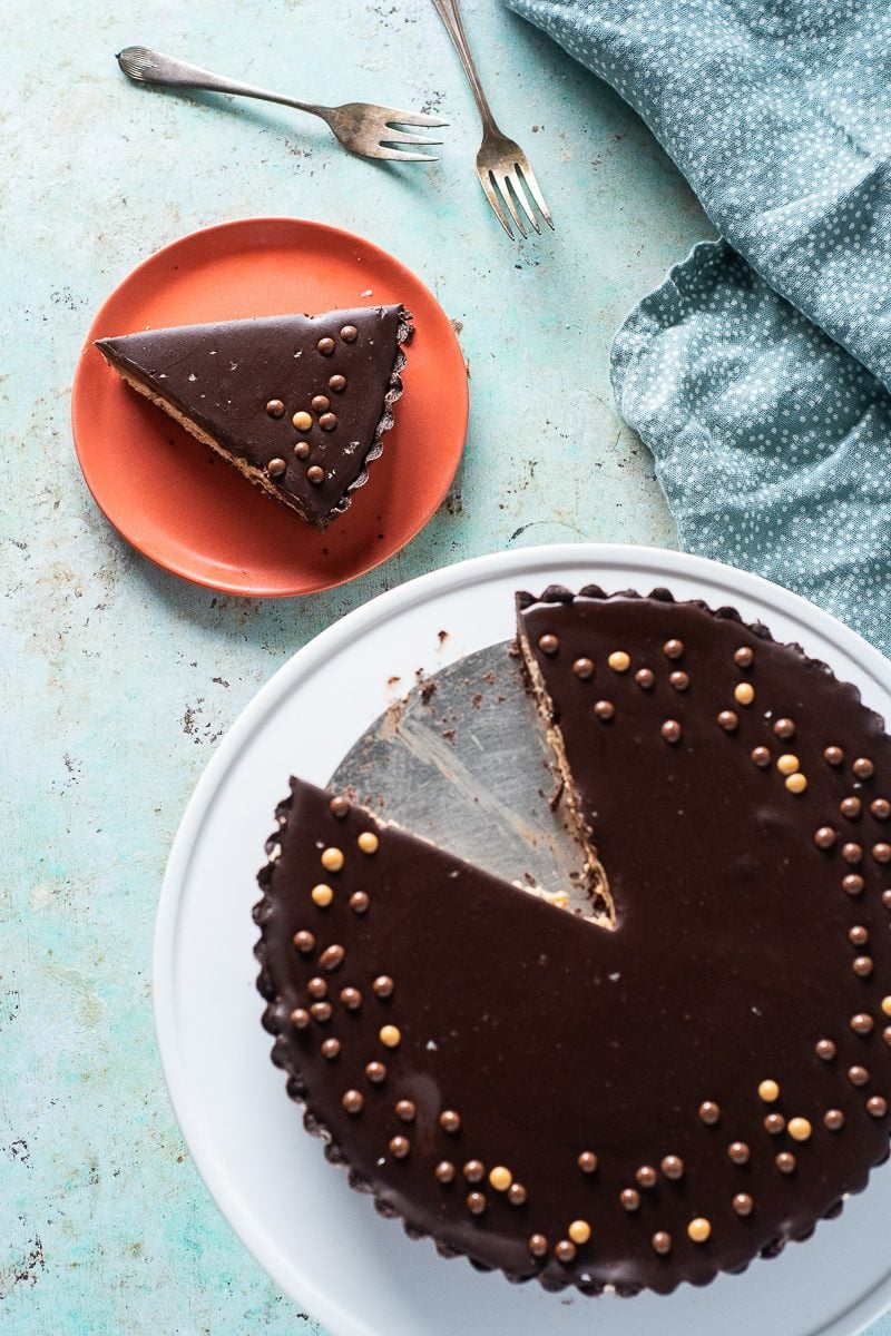 Chocolate Peanut Butter Tart with Slice Removed
