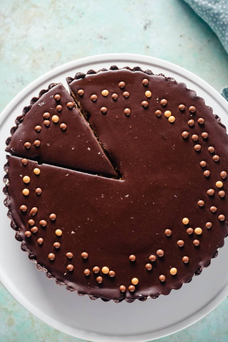 Sliced chocolate peanut butter tart