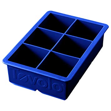 Tovolo King Cube Ice Mold Tray, Long Lasting Sturdy Silicone, Fade-Resistant, 2 Inch Cubes, Stratus Blue