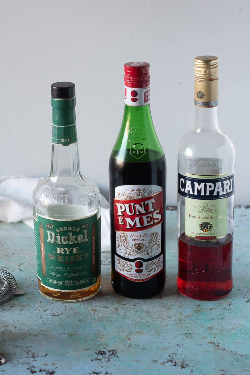 Bottles of Dickel Rye, Punt e Mes, and Campari