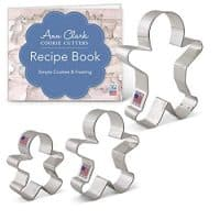 "Gingerbread Man/Men Cookie Cutter Set with Recipe Book - 3 Piece - 2.875"", 3.75"", 5"" - Ann Clark Cookie Cutters - USA Made Steel"