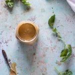 Peanut sauce with coconut milk and basil, overhead shot