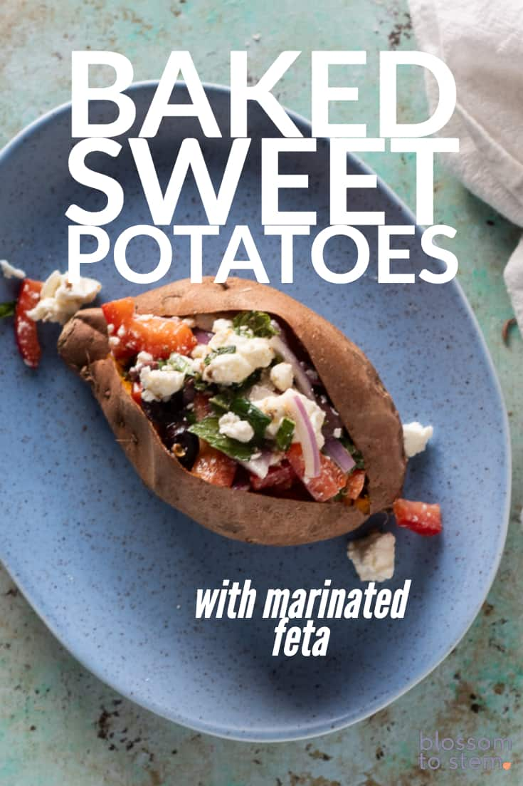 Baked Sweet Potatoes with Marinated Feta