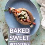 Baked Sweet Potatoes with Marinated Feta