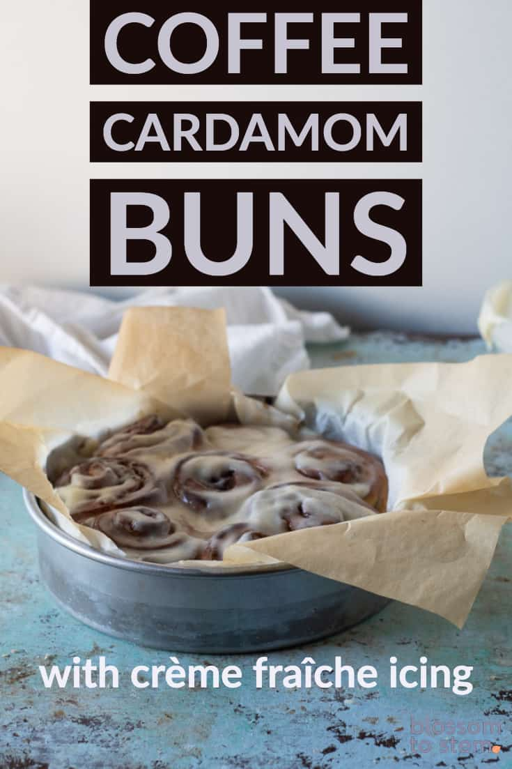 Coffee Cardamom Morning Buns with crème fraîche icing