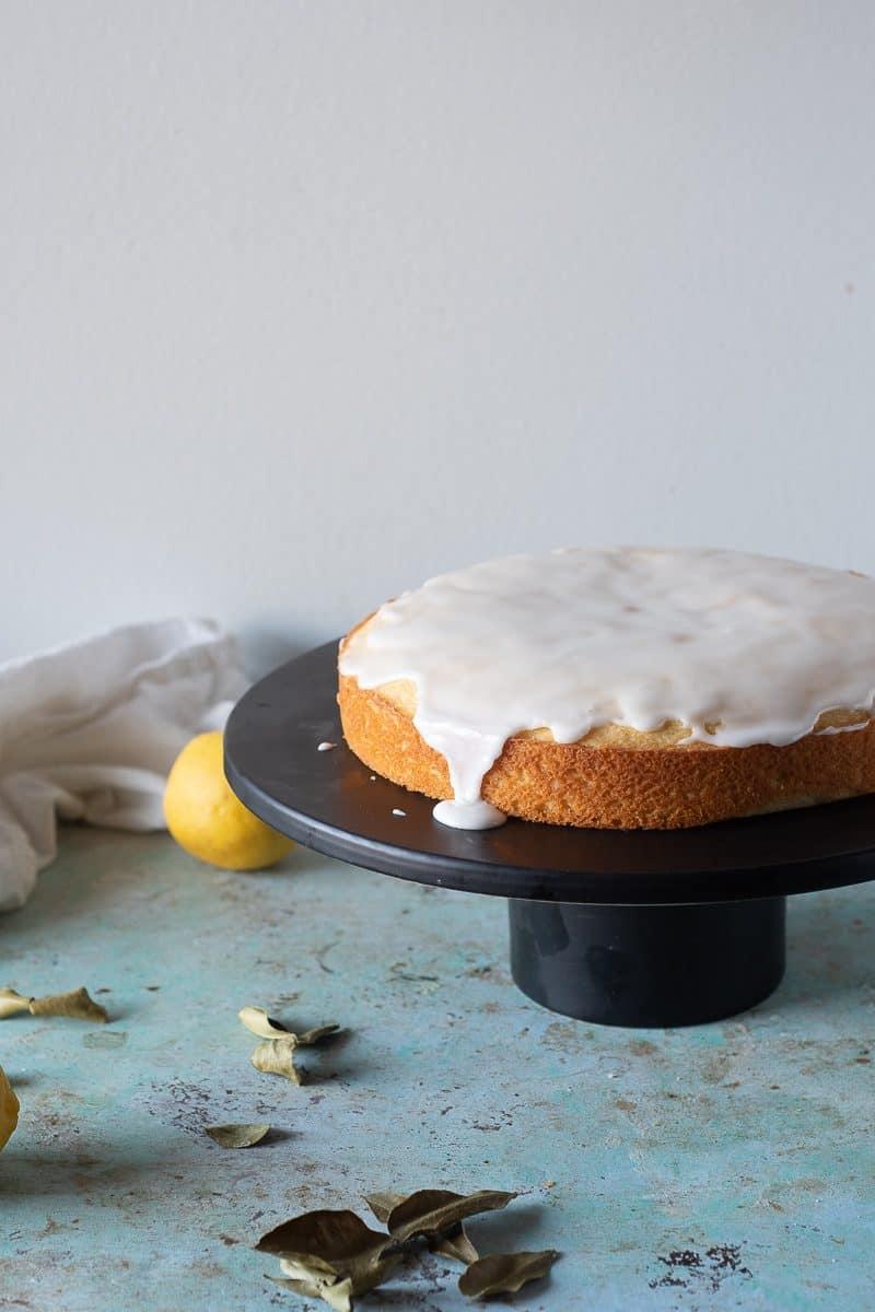 Makrut Lime Leaf Cake with lemon and a lime icing