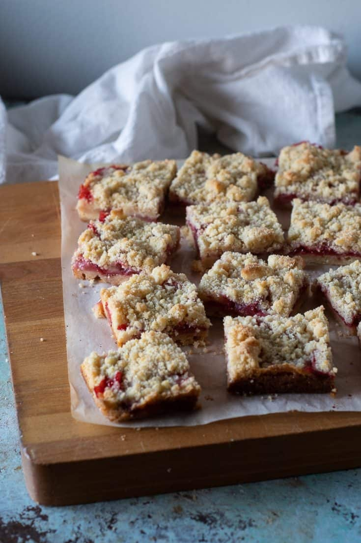 Strawberry Crumb Bars with Lemon and Coriander