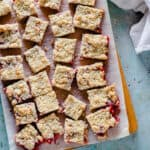 Strawberry Crumb Bars sliced into squares