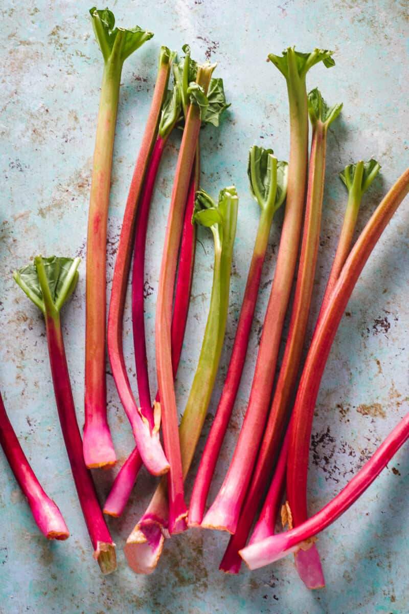 Stalks of rhubarb lying on a counter