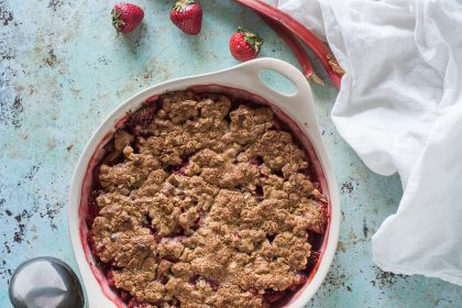 Strawberry Rhubarb Crisp with Oat Flour and Oats