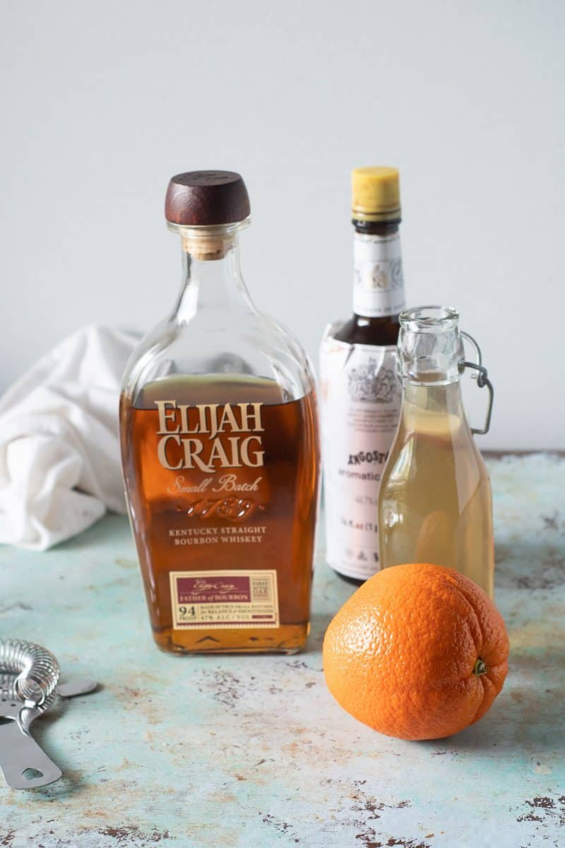 Bourbon, bitters, simple syrup, orange peel