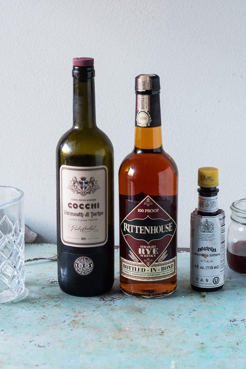 Cocchi di Torino sweet vermouth, Rittenhouse Rye, Angostura bitters