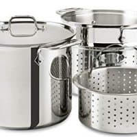 All-Clad E9078064 Stainless Steel Multicooker with Perforated Steel Insert and Steamer Basket, 8-Quart, Silver