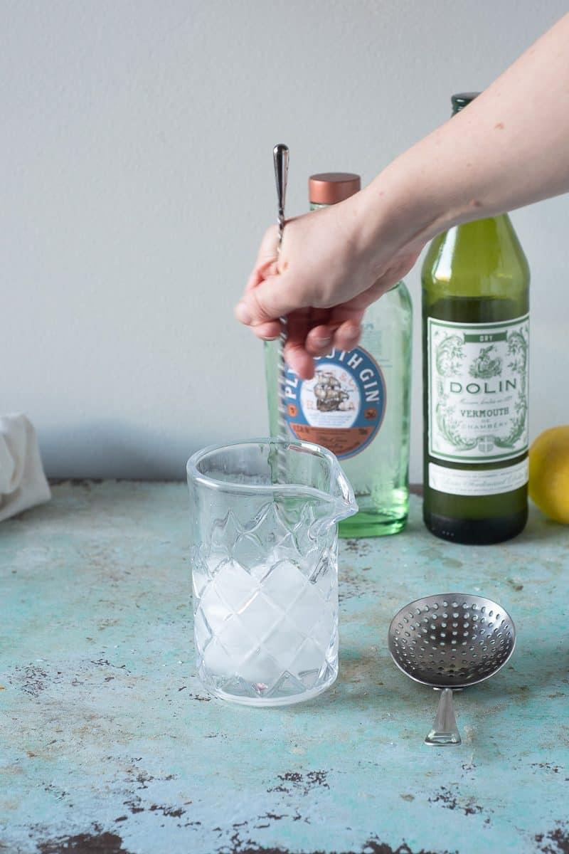 Stirring a Martini in a mixing glass