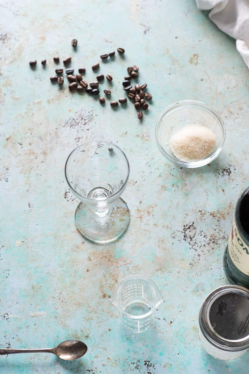 Coffee beans, sugar, Irish coffee glass, spoon