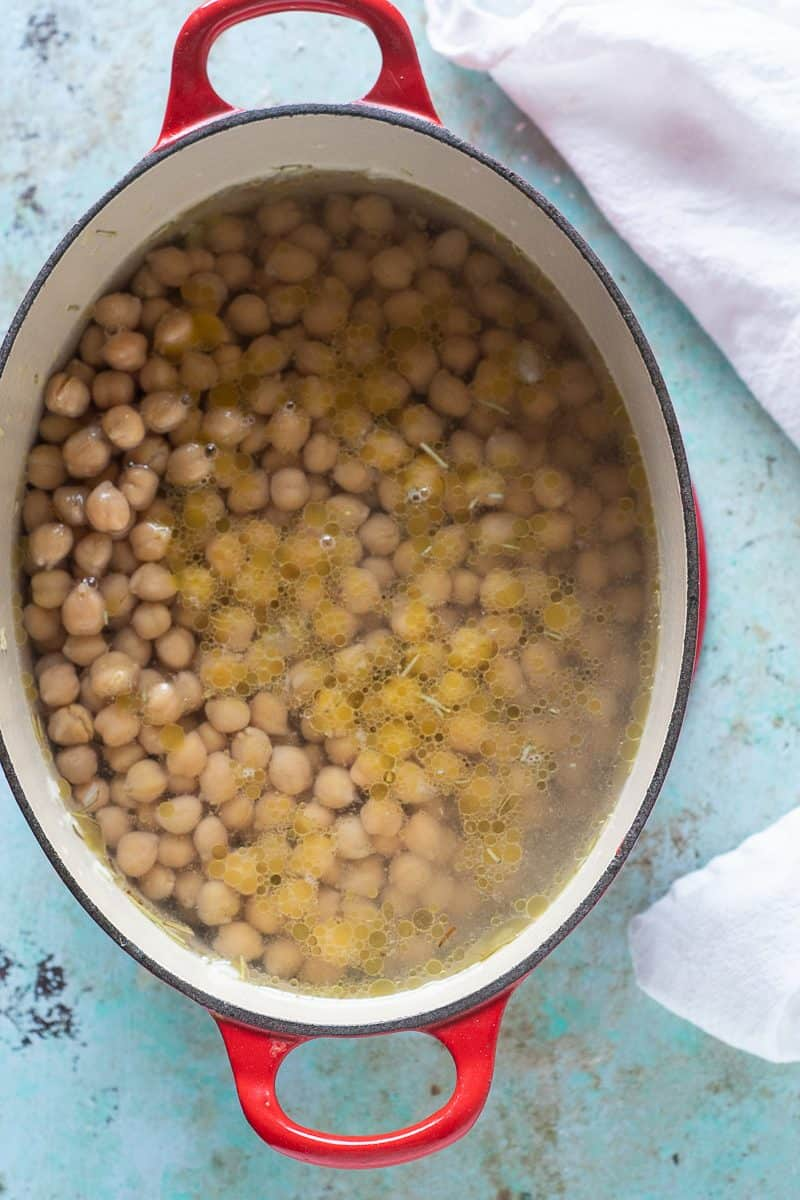 Chickpeas and soffritto in water in a pot