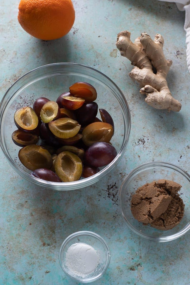 Plums, orange, ginger root, brown sugar, and cornstarch