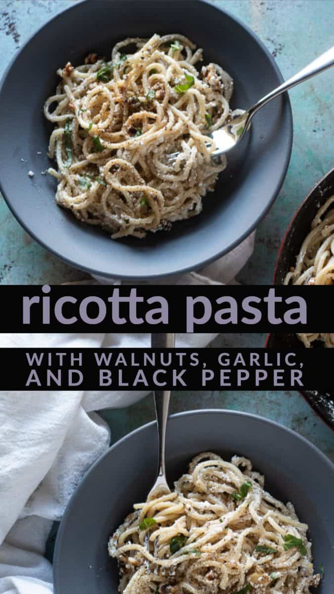 Ricotta Pasta with Walnuts, Garlic, and Black Pepper