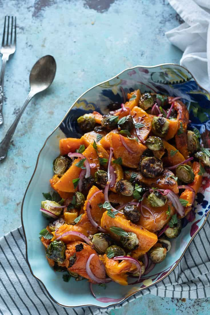 Roasted Butternut Squash and Brussels Sprouts in Agrodolce