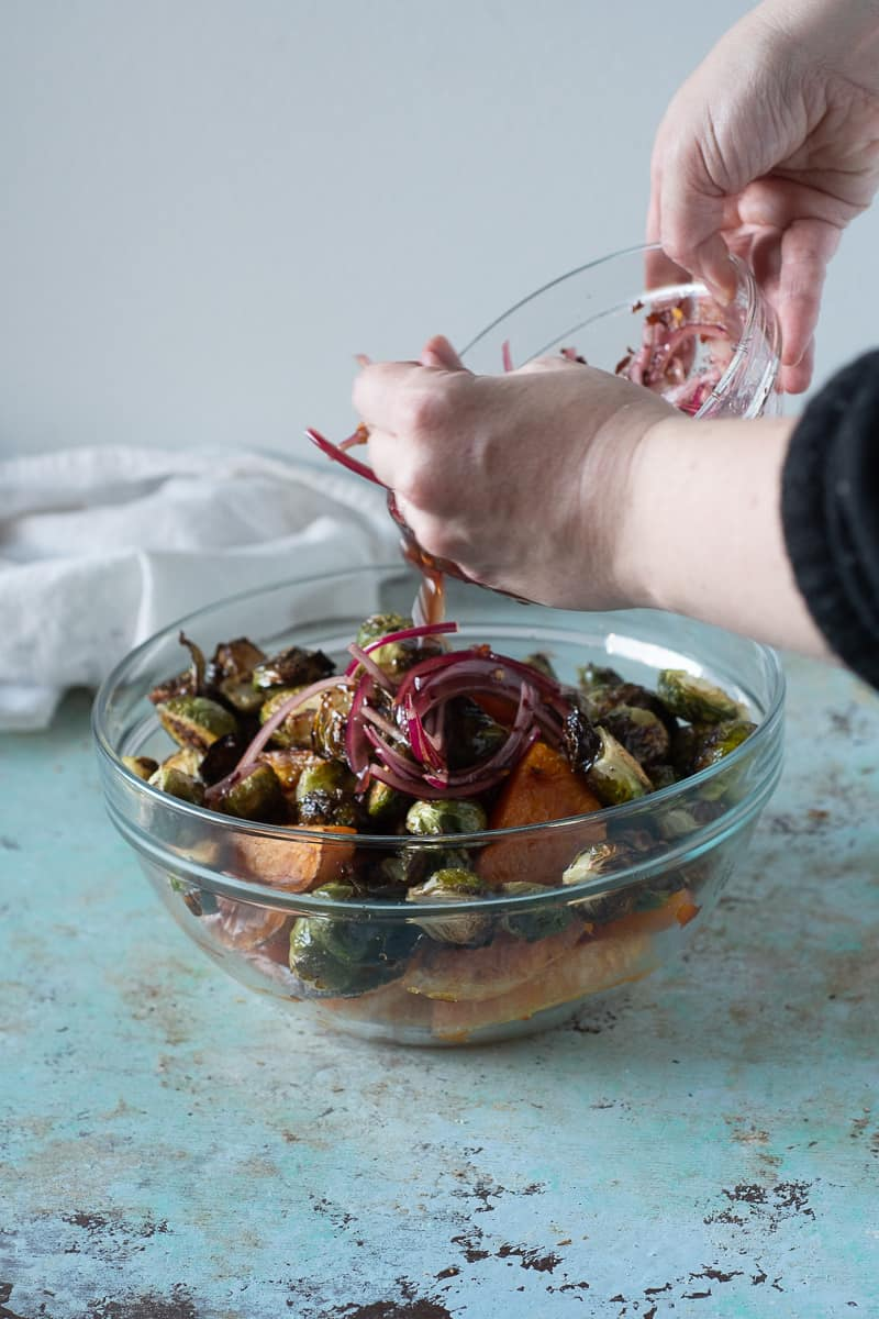 Adding agrodolce to roasted Brussels sprouts and butternut squash