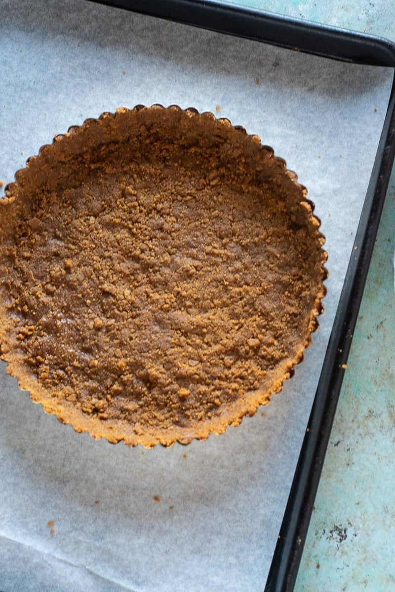 Gingersnap tart crust, before baking