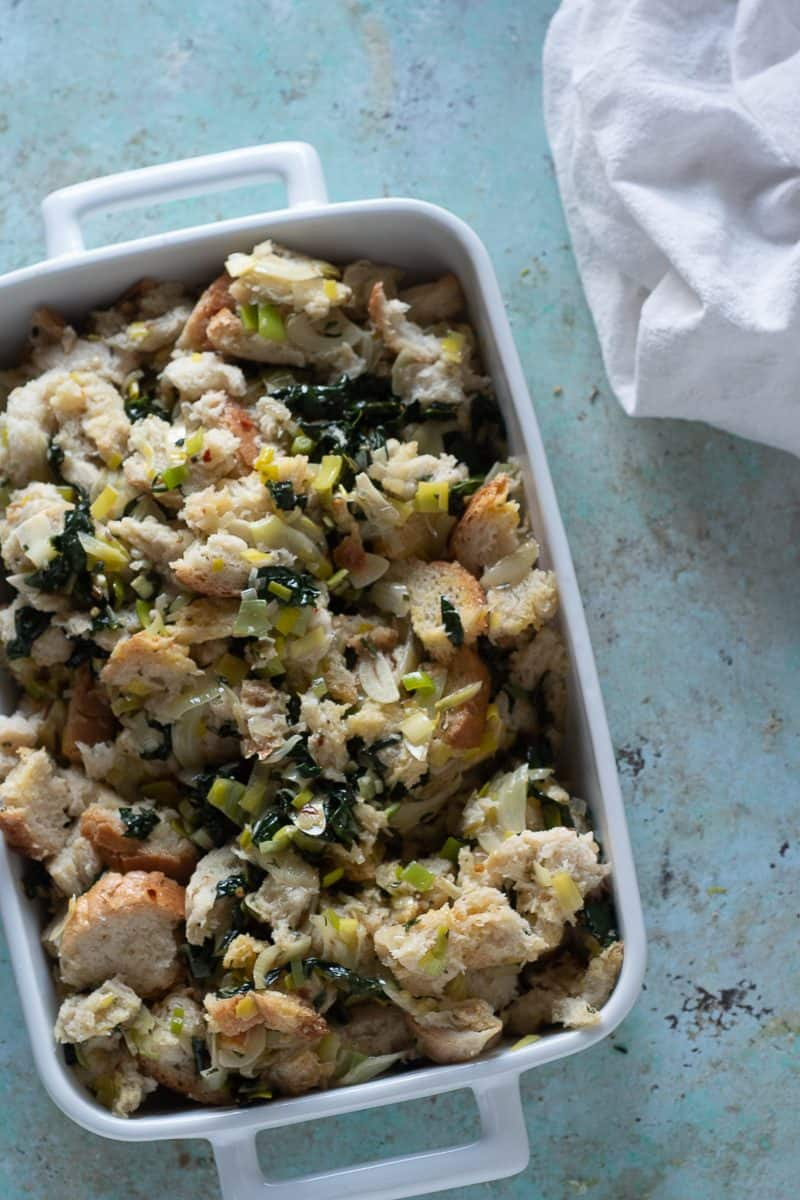 Fennel and kale stuffing before going into the oven