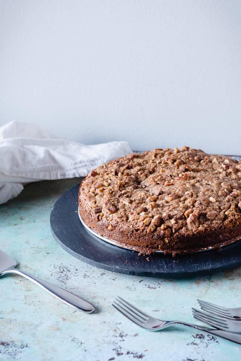 Pumpkin Coffee Cake on a slate platter