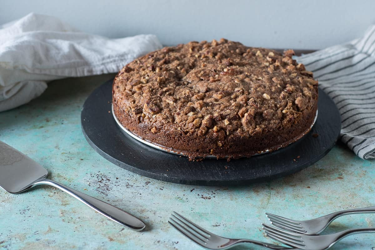 Pumpkin Coffee Cake with Pecan Streusel