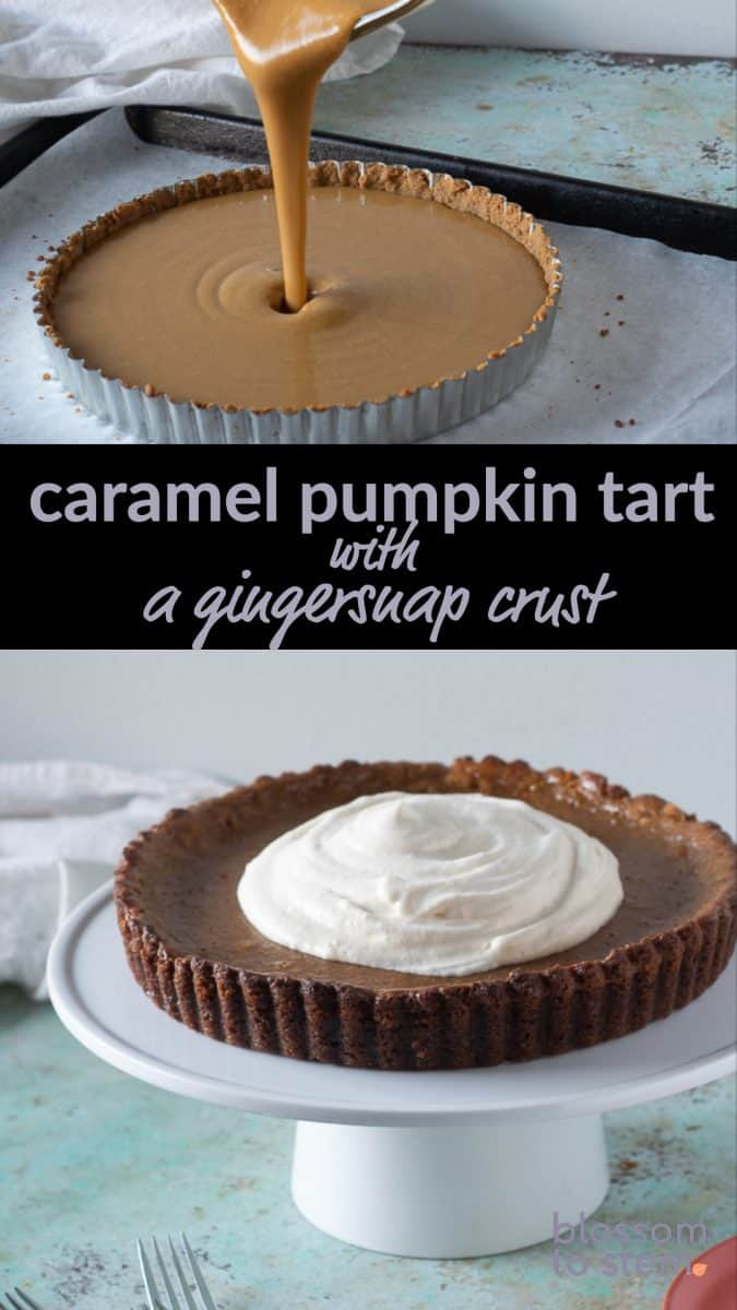 Caramel Pumpkin Tart with a Gingersnap Crust