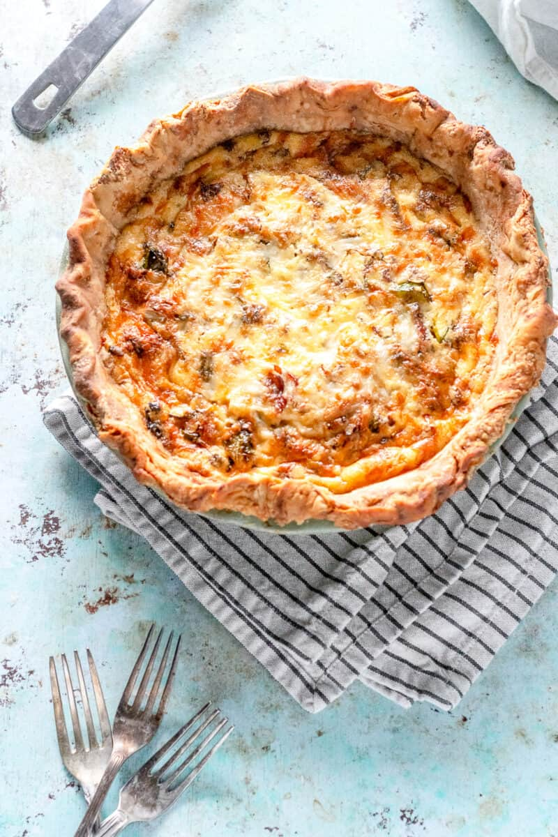 Quiche with Bacon and Brussels Sprouts.