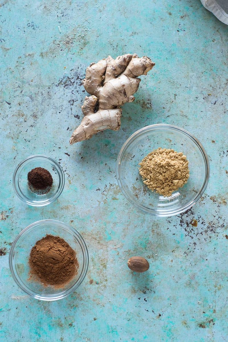 Ginger root, ground ginger, whole nutmeg, cinnamon, cloves