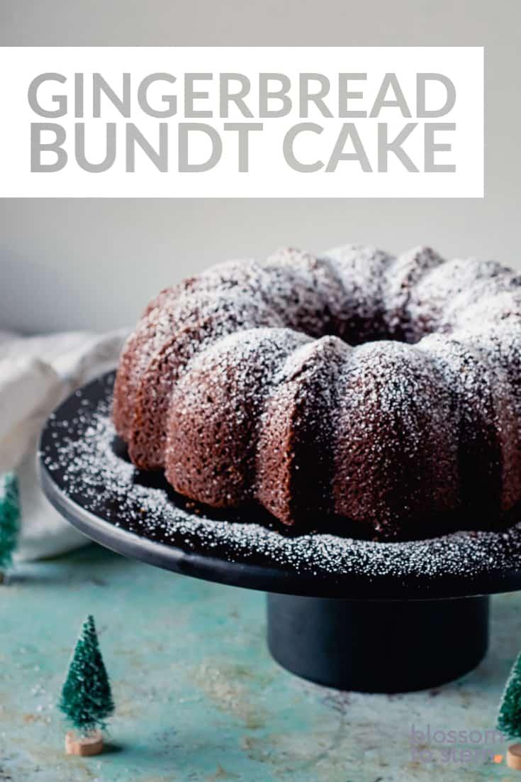 Gingerbread Bundt Cake on a black cakestand