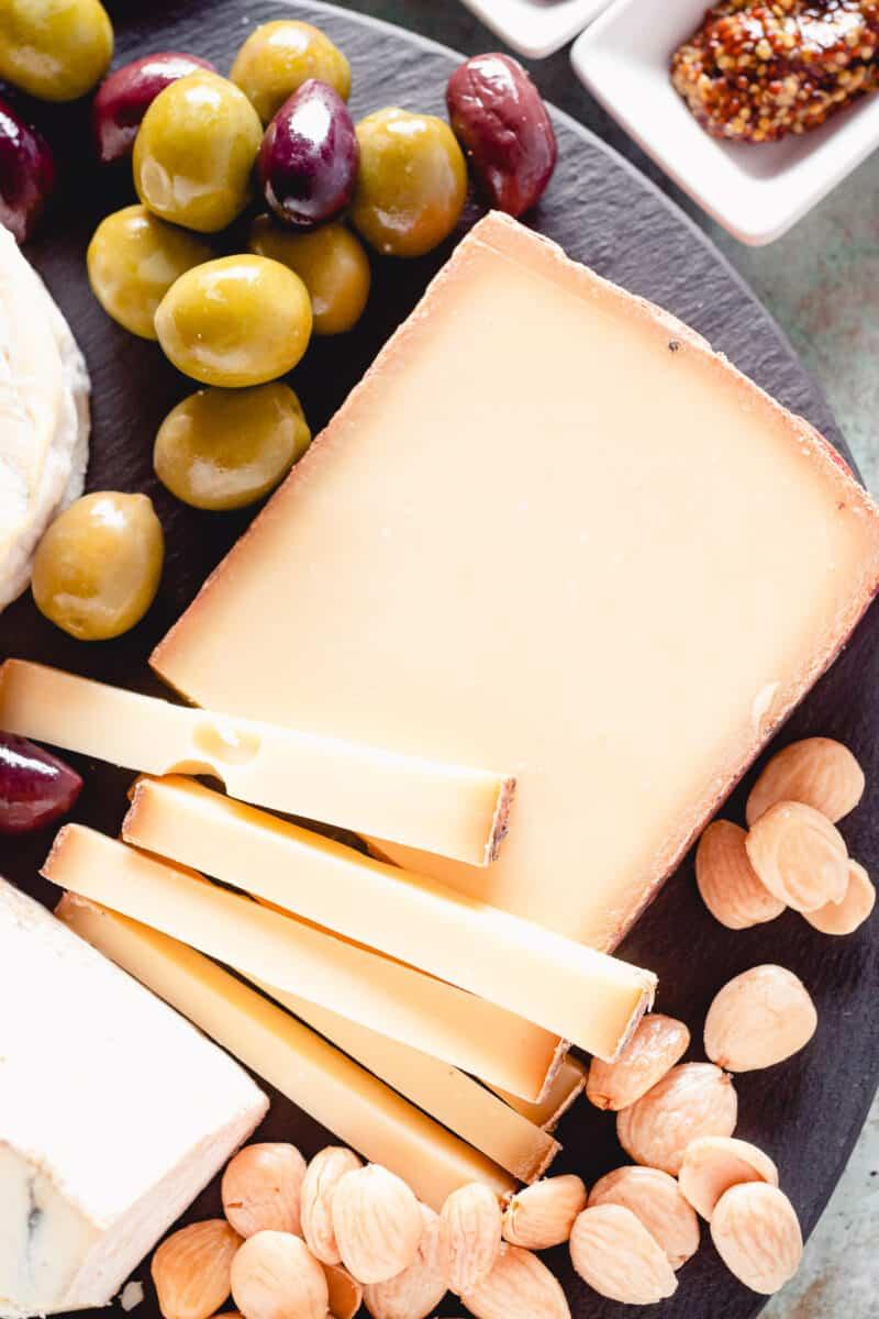 semi firm cheese, sliced