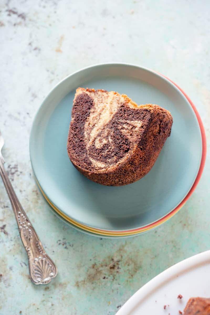 Slice of chocolate orange olive oil bundt cake