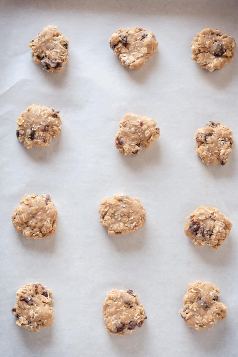 Gently flattened balls of oatmeal raisin cookie dough