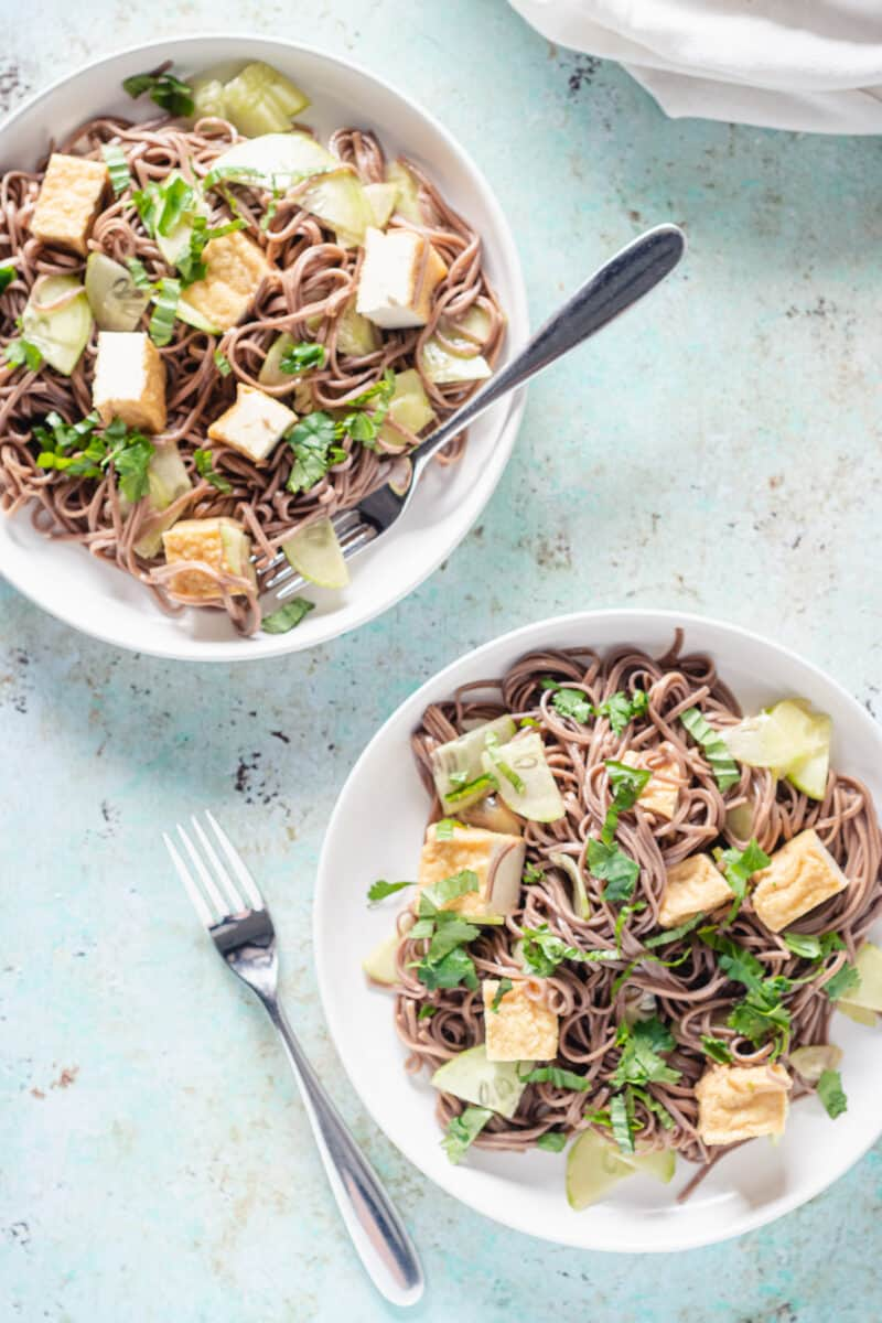 Two plates of sesame-lime soba noodles