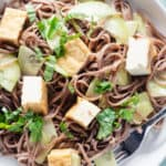 A plate of sesame-lime soba noodles up close