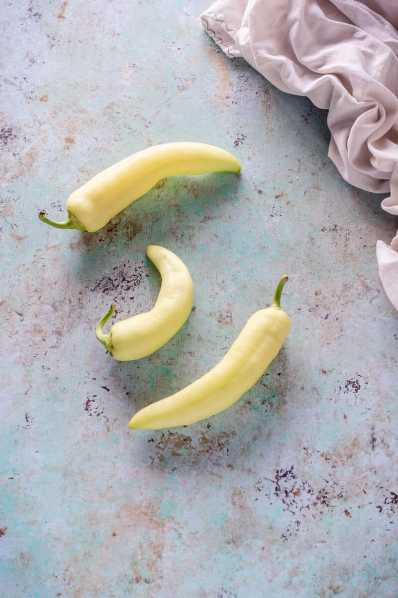 Banana peppers on a counter