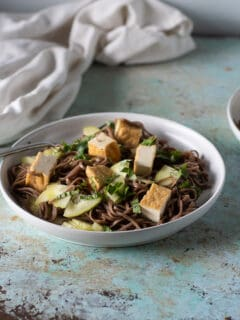 Sesame Lime Soba Noodles on a plate