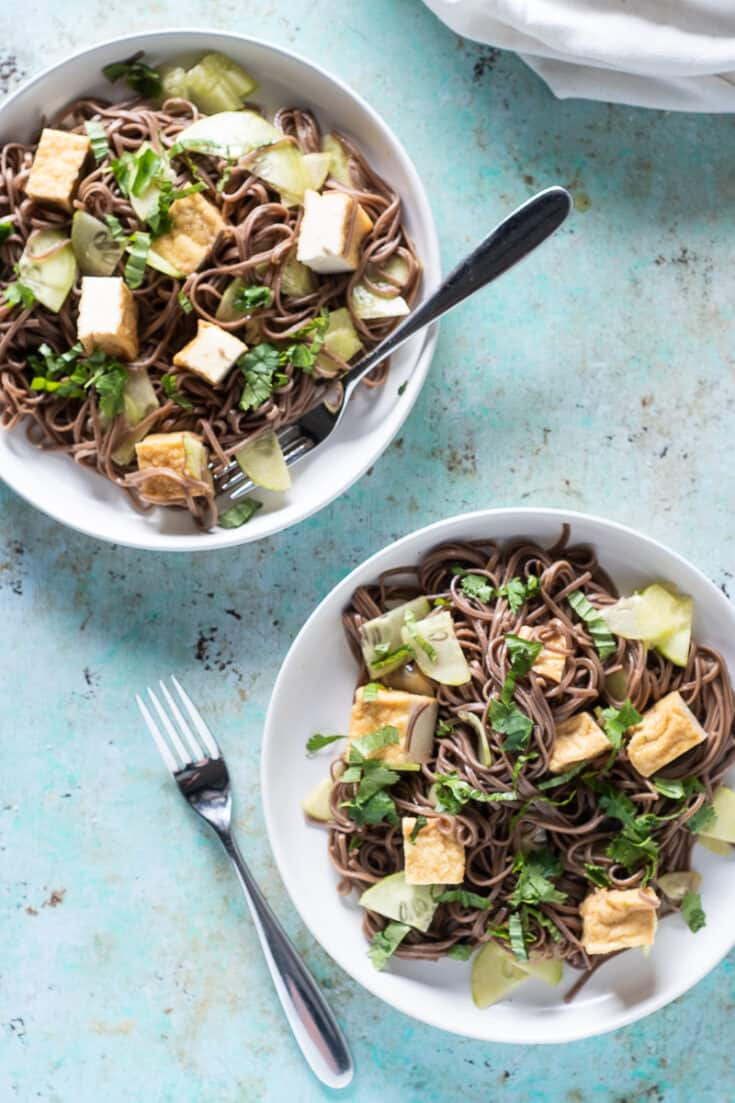 Sesame Lime Soba Noodles on two plates with forks