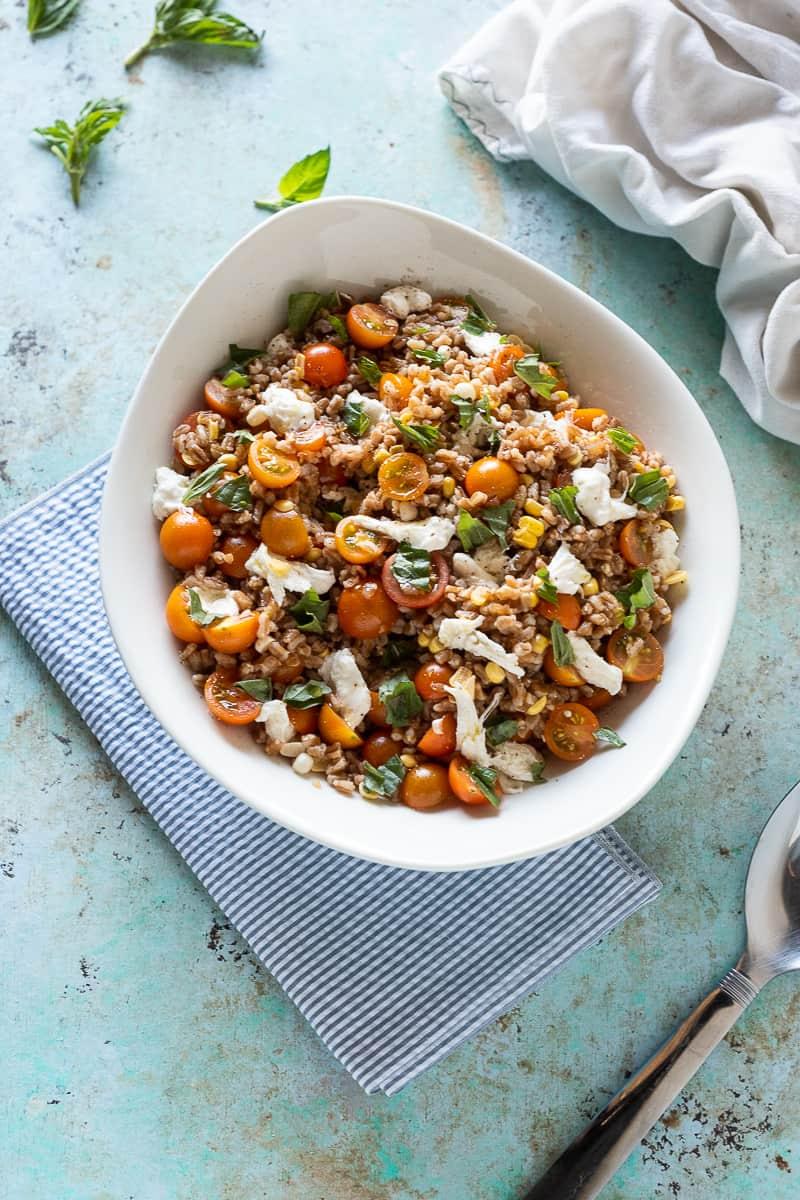 Corn and Tomato Farro Salad with Fresh Mozzarella