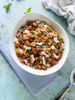 Corn and Tomato Farro Salad with Fresh Mozzarella