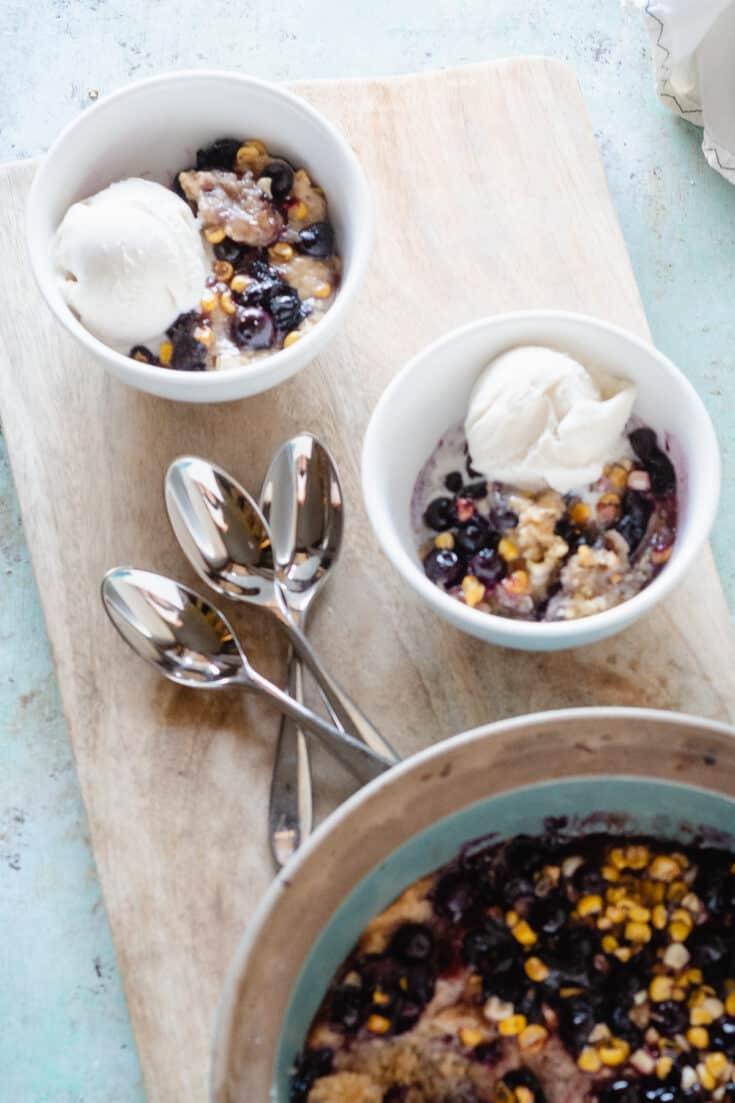 Sweet Corn & Blueberry Spoon Cake