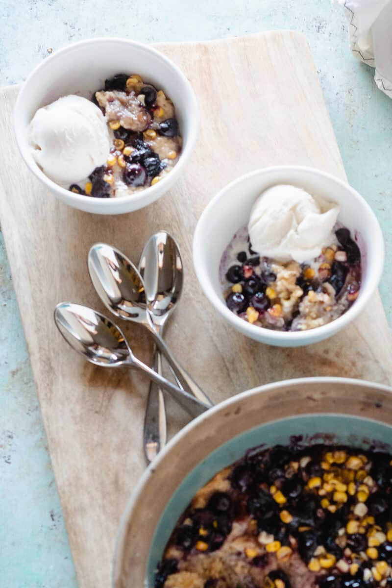 Sweet Corn & Blueberry Spoon Cake