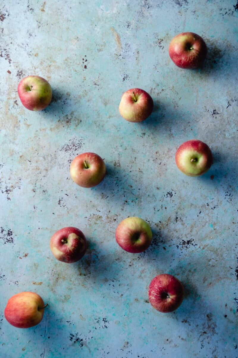 Apples on a counter